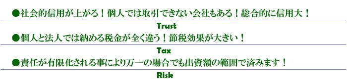 1・社会的信用が上がる!個人では取引できない会社もあります。2・個人と法人では納める税金が全く違います。節税効果が大きい。3・責任が有限化されることにより万一の場合でも出資額の範囲で済みます。