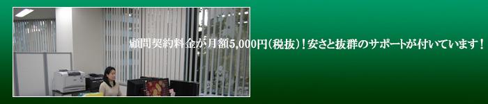 顧問契約料金が月額5000円(税抜) 安さと抜群のサポートが付いています